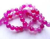 64 perles rondes lisses en agate veine de dragon teintée rose fuchsia 6 mm ZUI-138