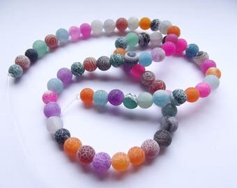 62 irregular 5-6 mm REIA 427 frosted multicolored agate beads