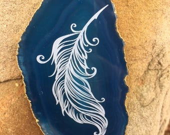 Feather Engraved Agate Slice Pendant