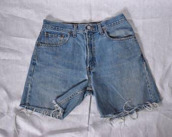 """Levis Vintage High Waist Denim Bermuda Cutoff Shorts Waist 32"""""""