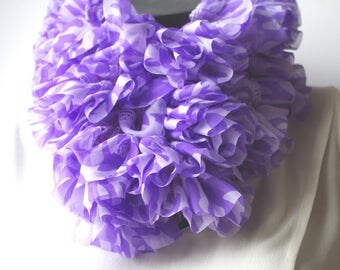 Pretty violet purple chiffon ruffle scarf, it is about 110 cm.