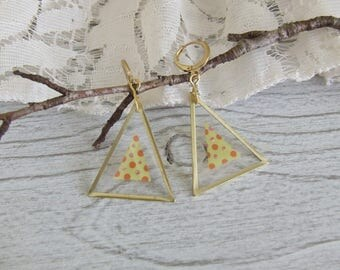 Earrings Golden Triangles with image open dots - handmade