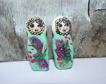Doll Russian-celadon, purple, pink, gold-35 x 12 mm-matryoshka charms flowers clay textured beads handcrafted-Ooak-handpainted