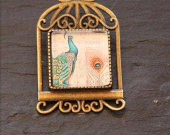 square cabochon pattern Peacock brooch