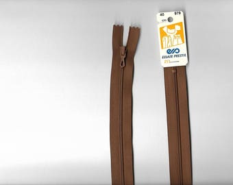 "Closed ""plastic zipper"" 40cm not separable z51 Brown 979."