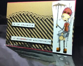 "original handmade card ""wishing you a birthday enooorme""!"