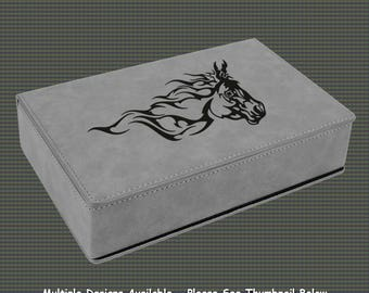 Leatherette Flask Gift Set - Horse Designs 2