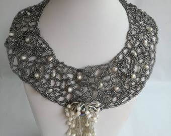 Freeform handmade necklace with pearls and Czech beads