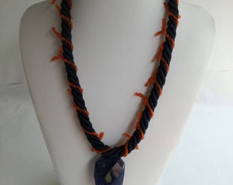 Everyday handmade braid necklace with coral,crystals and beads.