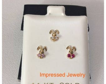 14K Yellow real  Gold Bunny Face Screwback  Stud children baby color cz Earrings