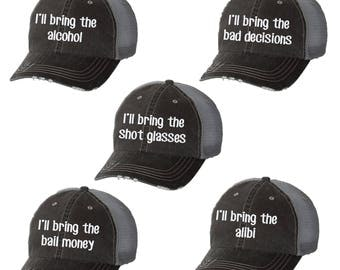 I'll Bring the Alcohol Distressed Ladies Baseball Hat | Mesh | Trucker | Funny | Girls Weekend | Drink | Wine | Beer