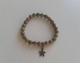 Unakite (6 mm beads) bracelet