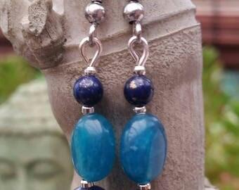Sodalite, blue Apatite and Lapis lazuli earrings
