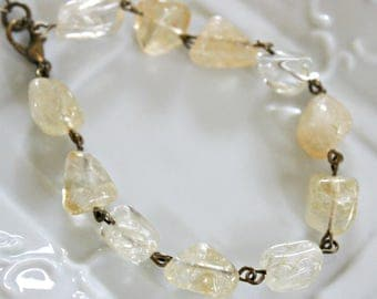 Citrine Bracelet, Yellow Citrine Bracelet, Citrine Jewelry, Gemstone Jewelry