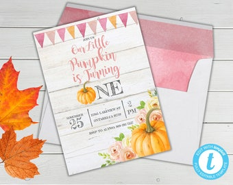 Pumpkin First Birthday Invitation, Our Little Pumpkin is Turning One Invitation, Fall theme Girl First Birthday, Girl Pumpkin First Birthday