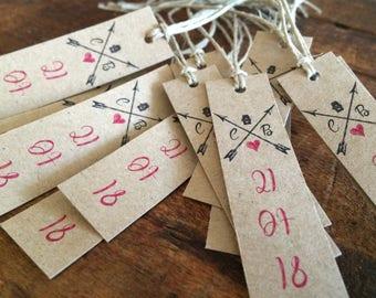 Tags set of 15 favors / wedding Retro Vintage