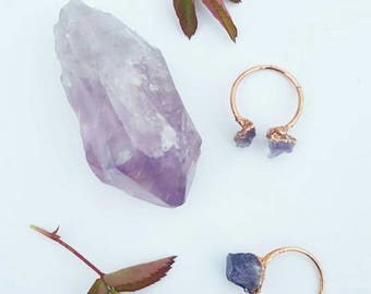 Amethyst Copper Electroformed Ring/Electroformed Jewelry/Amethyst Statement Ring/February Birthstone/Healing Crystal/Healing Stone Jewlery