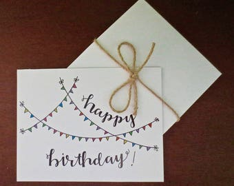 Festive Banner Happy Birthday Card (set of 5)