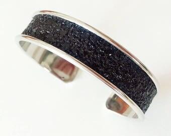 Glitter glitter leatherette cuff black rhodium plated Bangle