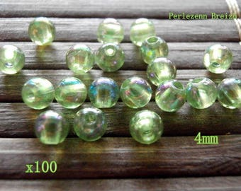 100 Acrylic beads round 4mm Green
