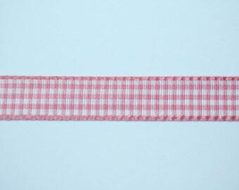 Ribbon gingham Rose 1 cm x 1 meter