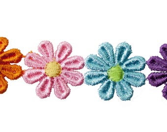 Ribbon flowers multicolor 2.5 cm x 1 m