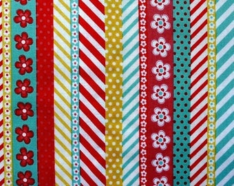 Coupon 55 x 30 cm polka dots, flowers, stripes - white black red American fabric, fabric Adornit