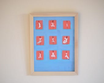 painting on miniature canvas series silhouettes of women, minimalist blue and coral frame wood