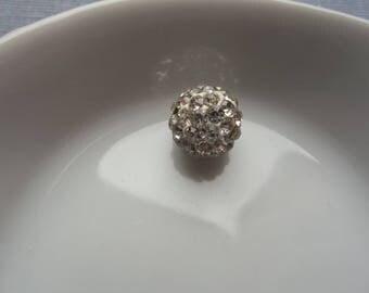 White shamballa rhinestone bead