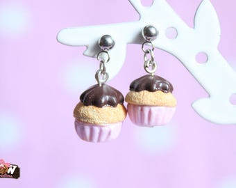 Earring dangle chips - little cupcake