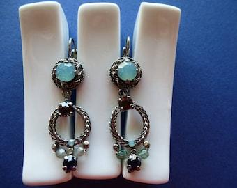 Romantic vintage dangling on sleepers Opaline rhinestones and Ruby Earrings