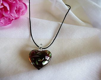 brightly colored Topaz, pink and green way heart pendant necklace Murano on silk cord