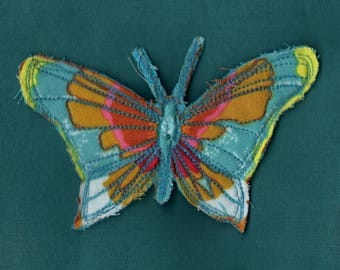 Turquoise blue printed fabric LEELOO Butterfly brooch / / fiber jewelry
