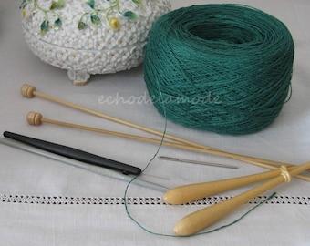 100 g green Linen yarn for knitting, crochet, lace, embroidery frivolities scrapbooking