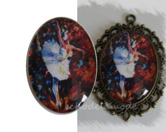 30 mm X 40 mm cabochon 1 ballet dancer in bright colors