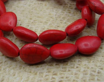 Red drop stone howlite natural 15mm 10 beads