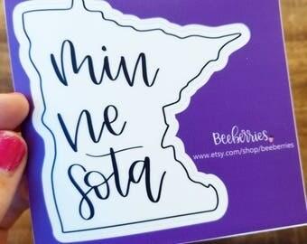 Laptop Sticker, Vinyl Sticker, Minnesota State, Minnesota Sticker, Cool Sticker, Hydroflask Sticker, States, Gift for Him, Gift for Her