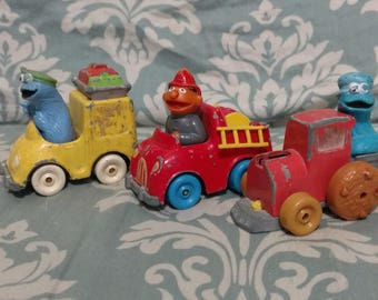 Vintage sesame street toy cars, set of 3