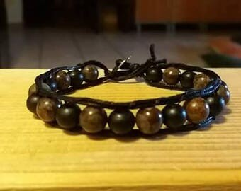 Single Wrap bracelet Brown and black