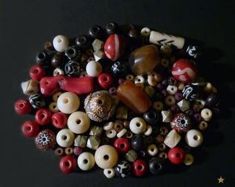 148 beads Nepal yak bone, coral, agate, Horn, wood, glass and metal