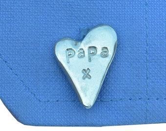 """Cufflinks heart """"Dad"""" in a Presentation box"""