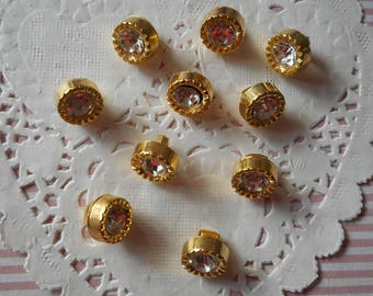 Rhinestone buttons old Golden plastic shank 1.00 cm in diameter (with 10 buttons)