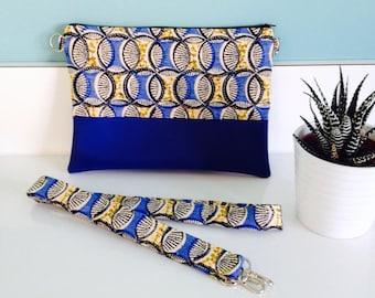 Circular blue and yellow fabric bag