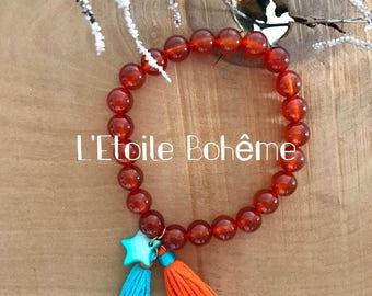 Bracelet carnelian stone gems