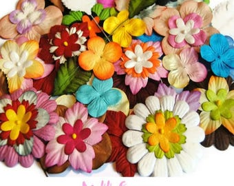 WHOLESALE LOT of 75 flowers embellishment scrapbooking paper. *.