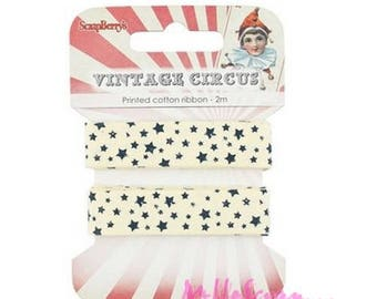 "2 m printed Ribbon ""stars"" embellishment scrapbooking card making *."