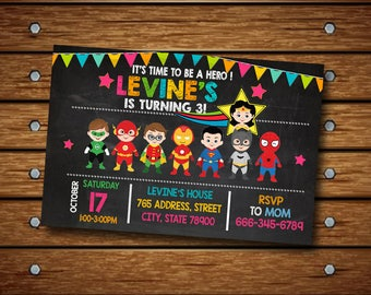 Superhero Invitation,Superhero Birthday Invitation,Superhero Party,Superhero Invite,Superhero Birthday,Superhero Card,Super Hero-SL 100