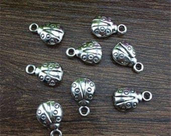 4 charms, ladybug, silver aged, 10x15mm