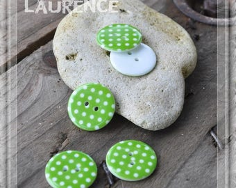 Set of 10 buttons plastic - green polka dots