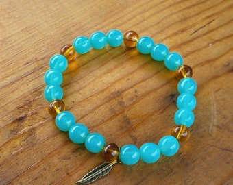 Turquoise/Amber Beaded Stretch Bracelet